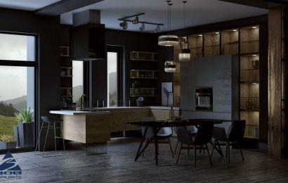 Кухня из шпона ясеня «Норд»