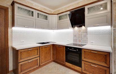 Кухня ОСК702 Массив Ясеня Т520 Верх - 125/ Низ - 113