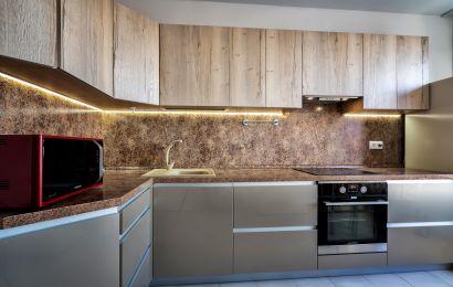 Кухня ПДЛ229 Верх Тимбер Альбус верт/ Низ Акрил глянец Шампань металик