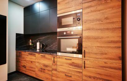 Кухня КА834 Акрил-5 Винил мат/ Тимбер Аттик горизонт