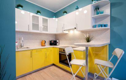 Кухня КА931 Пост-5 Верх - Белая лилия GLS/ Желтый GLS