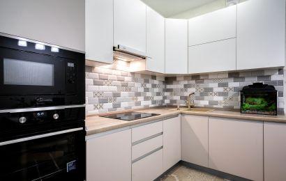 Кухня МШ901 Верх - Акрил-5 Белый мат/ Низ - Акрил-5 Тальк мат