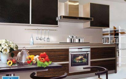 "Кухня ЗОВ Фасад: ""Тафель 3"". Зебрано (глянец) / крашеное стекло ЗН1"